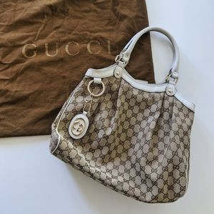 Gucci Neutral GG Canvas Sukey Hobo Bag